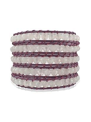 Lucie & Jade Echtleder-Armband Rosenquarz violett/rosé