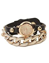 Ashiana stylish leather with gold bracelet watch - Black