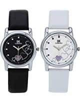 IIK Collection Combo of Women's analog Watches, Round Black Dial with Black Leather Strap & Round White Dial With White Leather strap IIk-1503W-1504W