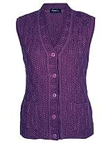 Mystic Women's Wool Cardigans ( CRSLA1, Purple, L )