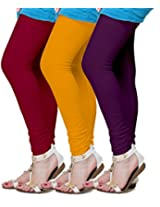 MSS Wings Women's Leggings (Pack Of 3) (M-Dkpur-DkYel-3combo_Multicolor_XX-Large)