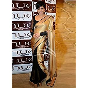 Mandira Bedi Black and Golden Half-and-Half Saree