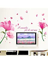 UberLyfe Large Pretty Pink Flowers Wall Sticker for Living Room