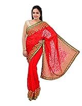 Shree Sai NX Women's Georgette Saree (Ramleela, Red)