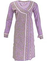 Lucknow Chikan Industry Women's Cotton Straight Kurta (LCI-391, Purple, S)