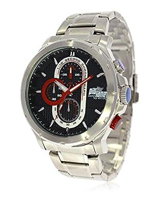 Pit Lane Uhr mit Miyota Uhrwerk Pl-1015-1 silberfarben 45 mm