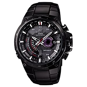 Casio Edifice Solar Powered Black Plated Atomic Watch