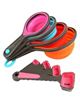 Happy Chef 8PC Silicone Measuring Cups Set Cup Spoon Kitchen Tool Collapsible Baking Cooking