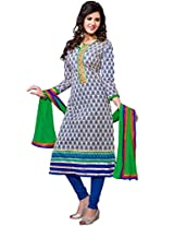 Manvaa Multi Color a-line cotton embroidered salwar suit