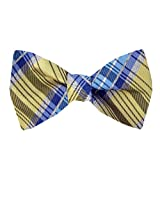 FBTT-11093 - Yellow - Blue - Mens Big and Tall Silk Self Tie Bow Tie