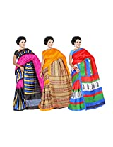 Bhagalpuri Silk Sarees with blouse exclusive Combo pack From Garg Fashion combo-
