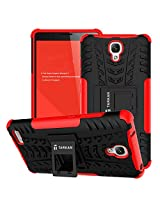 TARKAN Hard Armor Hybrid Rubber Bumper Flip Stand Rugged Back Case Cover For Xiaomi Redmi Note 3G/4G [Red]