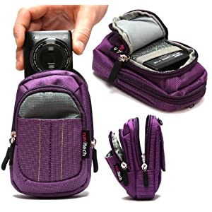 Navitech Purple Digital Camera Case Bag For The Samsung SMART CAMERA WB250F / WB800F / WB30F / ST150F / DV150F...