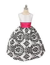 Magic Fairy Girls' Taffeta Dress [MF-292_Whitew Fuschia Sash_6-7 Years]
