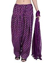 Jaipur Kala Kendra Women's Patiala Salwar Dupatta Set (10013_Purple_Large)