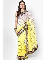 Yellow Embroidered Saree Mrignain