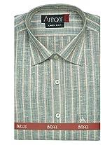 Arihant Men's Formal Linen Rich Gray Striped Shirt,Size 38