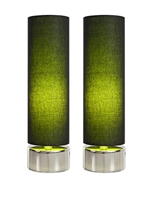 Filament Set of 2 Round Contrast Shade Table Lamps, Black/Green