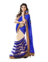 Winza Faux Georgette Saree (Patta Patta Saree _Blue)