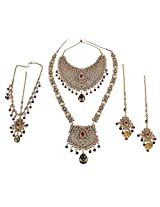 MUCHMORE Royal Look Brass Bridal Necklace Set For Women Wedding Jewelry