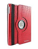 ELEGANI 360 Rotating Swivel Smart Premium Vegan PU Leather Case + Smart Cover + Stand for iPad 2/3/4 (CROCODILE RED)