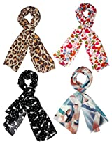 Set of 3 Trendy Stoles and Scarves. Multicolored for women - Great Quality, Latest Style, Reasonable Price