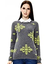 OSA Women's Winter Snow Jacquard Weave Pullover Sweaters Size XL Grey