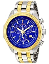 Akribos XXIV Men's AK617TT Conqueror Swiss Chronograph Blue Dial Two-Tone Stainless Steel Bracelet Watch