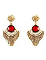 Donna Fashion Red Round Leaf Gold Plated Dangler Earrings with Crystals for Women ER30077G