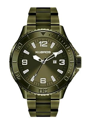 K&BROS 9564-6 / Reloj de Caballero con brazalete metálico Verde