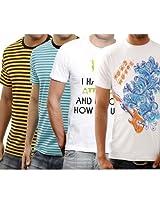 Funktees Men's Original Pure Cotton L Size T-Shirt - Pack of 4