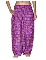 Famacart Women Pocket Printed Harem Pant Free Size PINK summer trouser