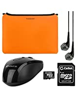 VanGoddy Smart Sleeves for Toshiba 14-inch Laptops & Ultrabooks + Headphones + USB Mouse + 16GB Memory Card (Orange)