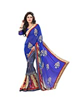 Sonal Trendz Blue Color Printed & Embroidered Weightless Saree