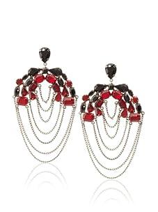 Joanna Laura Constantine Gunmetal/Black/Red Layered Chain Earrings
