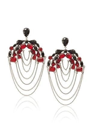 Joanna Laura Constantine Gunmetal, Black & Red Layered Chain Earrings