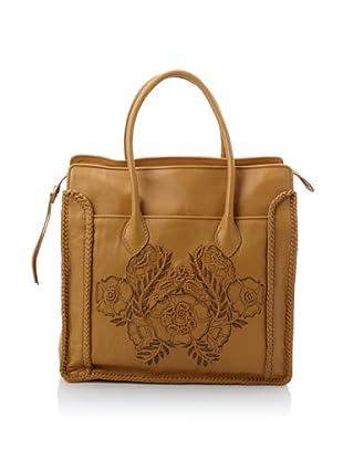 Isabella Fiore Women's Stella Floral Appliqué Shopper (Tan)