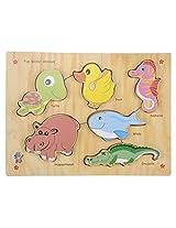 Skillofun Wooden Fun ID - Water Animals (Raised), Multi Color
