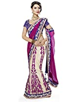 Cream Rani Pink Wedding Wear Stone Embroidered Patch Work net Lehenga Saree/Sari