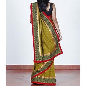 Olive green, handloom cotton saree