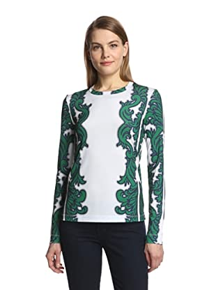 Bibhu Mohapatra Women's Printed Top (Emerald/Midnight)
