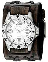 Nemesis Men's 097VDXB-W White Groovy Series Faded Black Double X Leather Cuff Band Analog Display Japanese Quartz Black Watch