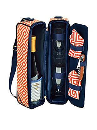 Picnic At Ascot Diamond Collection Sunset Wine Carrier For 2, Orange/Navy