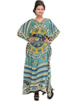 Exotic India Kaftan with Printed Elephants and Dori at Waist - Color Green And YellowGarment Size Free Size