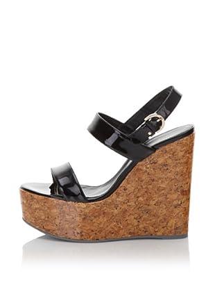 "Sergio Rossi Women's 5"" Patent Cork Sandal (Black)"
