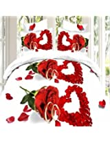 4pcs Suit 3D Love Red Roses Reactive Dyeing Polyester Fiber Bedding Set Queen King Size