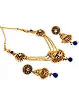Megh Craft Women Blue Polki Stone Necklace with Jhumka Earring , One Gram Gold Plated Temple Jewellery