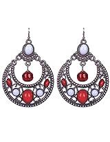 Saadi Gali Oxidized Silver Hoop Earring For Women (Metallic)