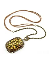 Cinderella Collection by Shining Diva Golden & Orange Pendant with Chain for Women 6944np