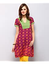 Yepme Women's Purple Cotton Kurti - YPMKURT0748_M